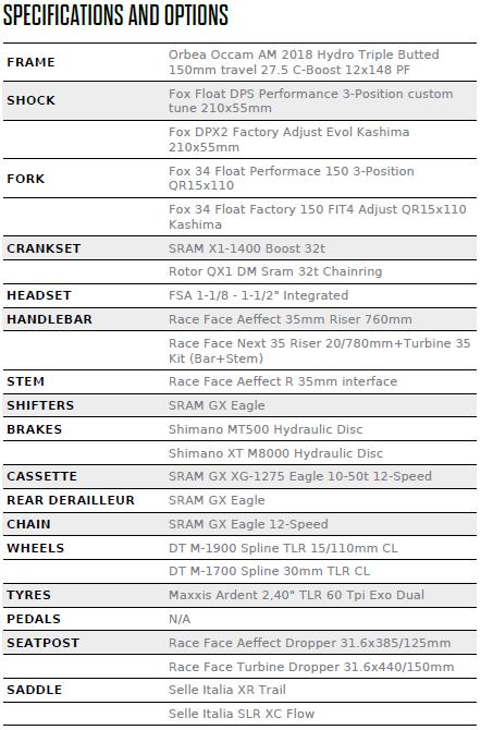 Orbea Occam AM H10 2018 - Full Suspension MTB 27