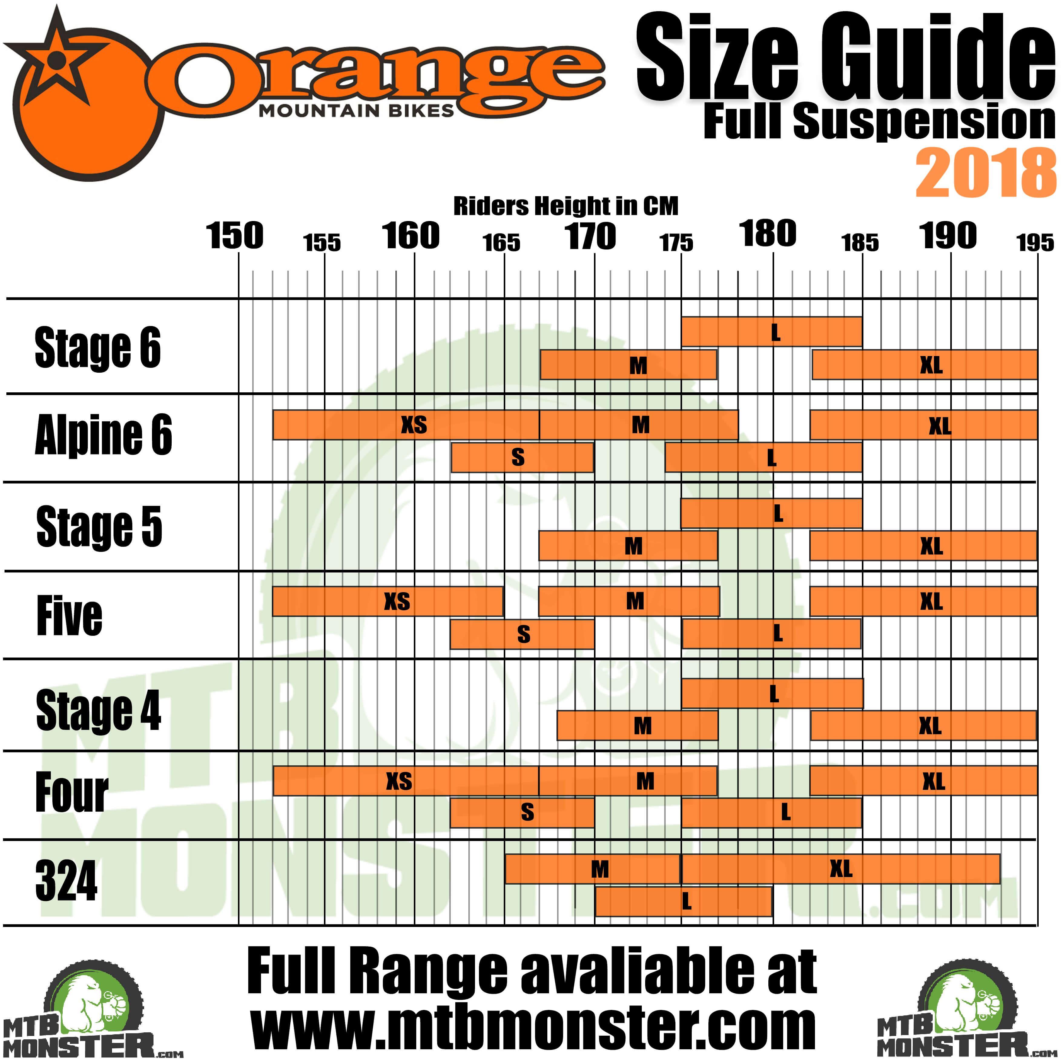 Orange Bikes Size Guide | What size frame do I need?