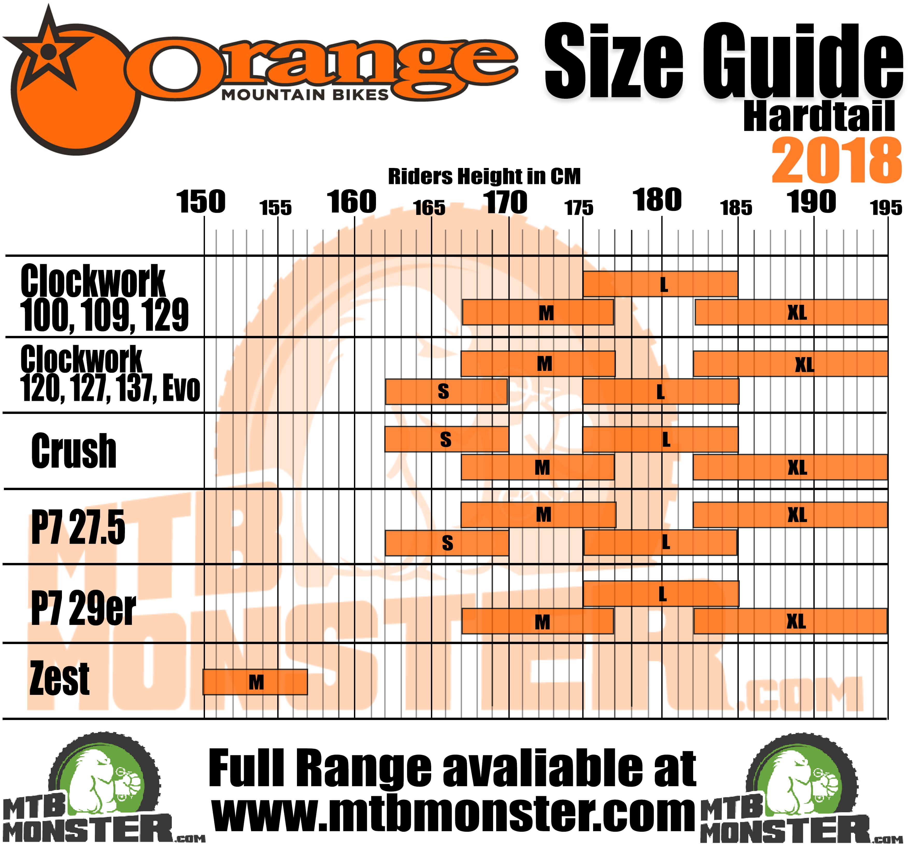 Orange Mountain Bikes Size Guide   Orange Mountain Bikes Sizing Chart