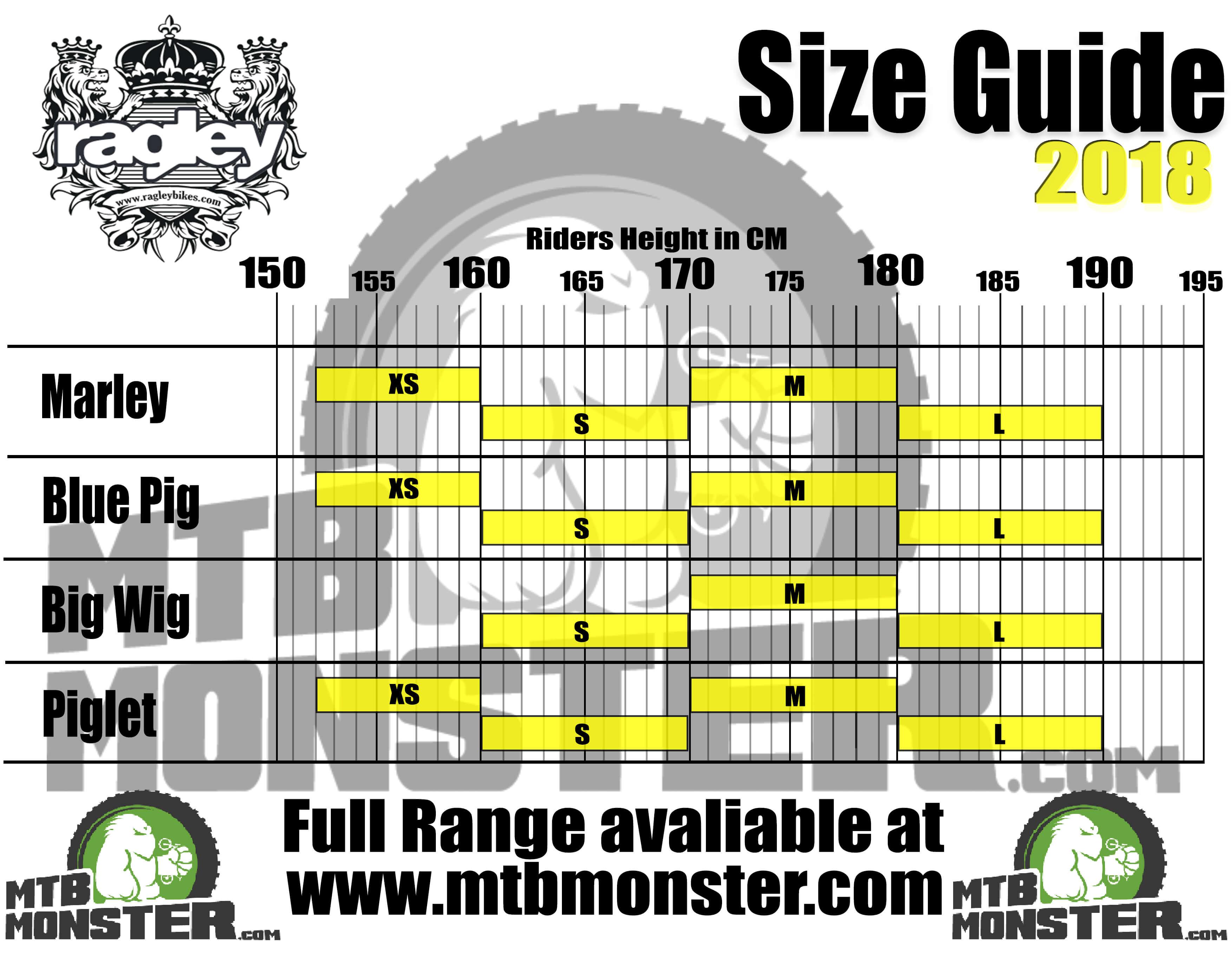Ragley Bikes Size Guide, Ragley Bikes Sizing Chart