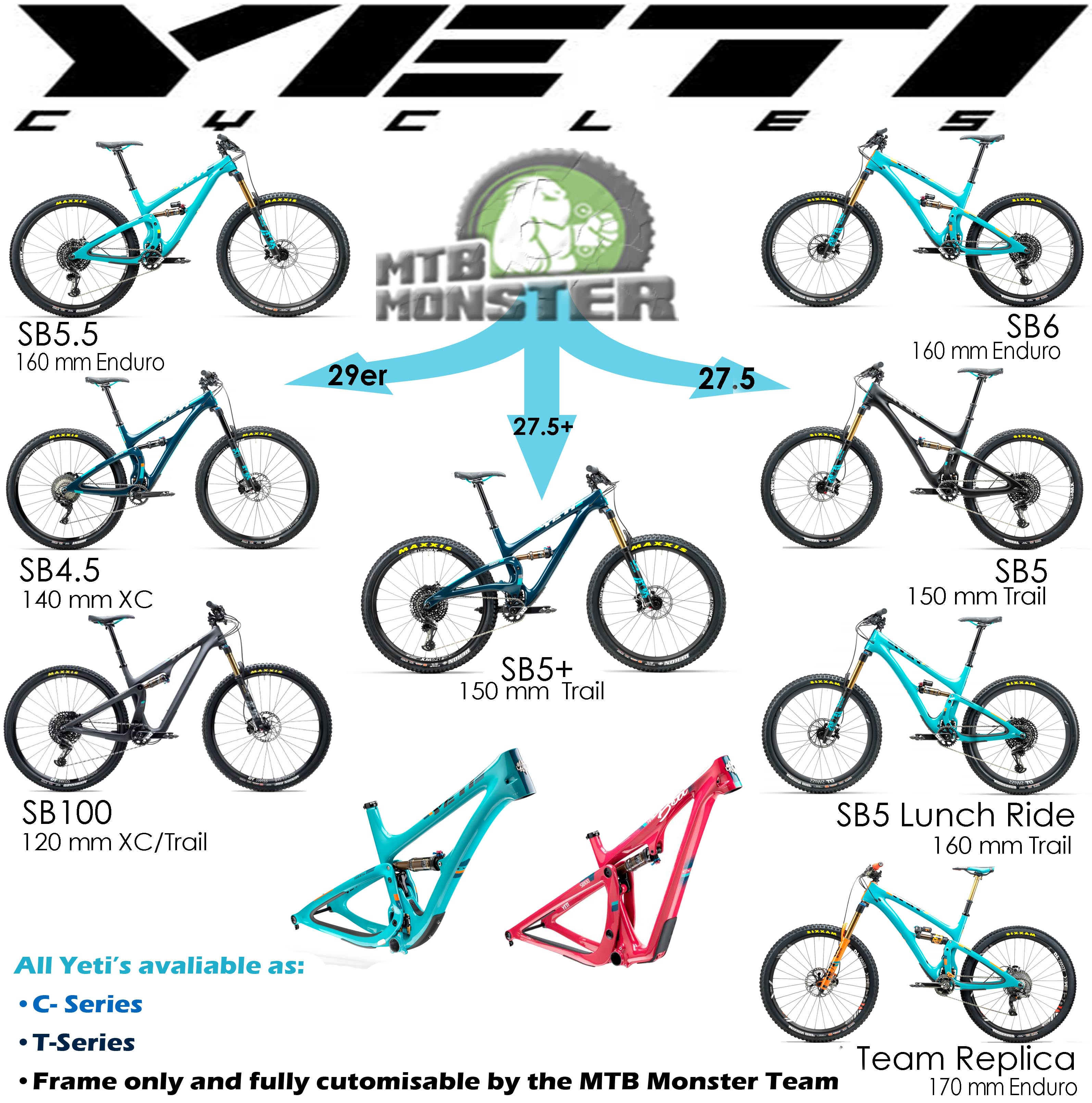 Yeti Mountain Bikes: Differences in wheel size and front suspension